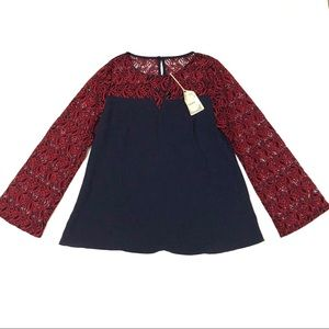 NWT Entro Blue Blouse Red Lace Sleeves